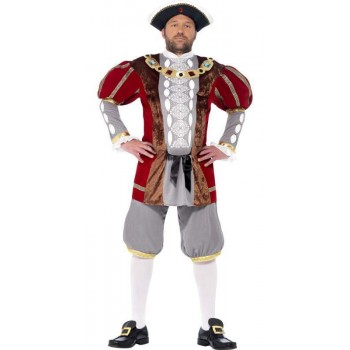 Men'S Deluxe Tudor Henry Viii Fancy Dress Costume