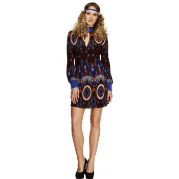 Ladies Blue Fever 70'S Beauty/Peace Hippy Fancy Dress Costume