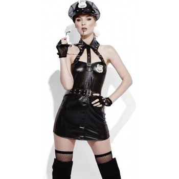 Ladies Black Fever Role Play Cop Wet Look Fancy Dress Costume