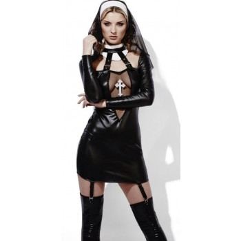 Ladies Sexy Fever Role-Play Nun Wet Look Fancy Dress Costume
