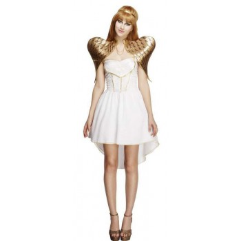 Ladies White Glamorous Angel Fancy Dress Costume