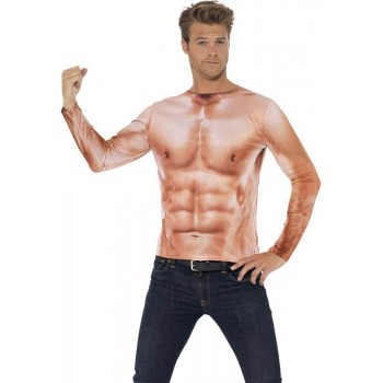 Mens Realistic Muscle Top Fancy Dress Costume