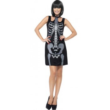Ladies Black Spooky Skeleton Fancy Dress Costume