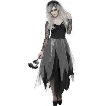 Ladies Grey Gothic Graveyard Bride Fancy Dress Costume