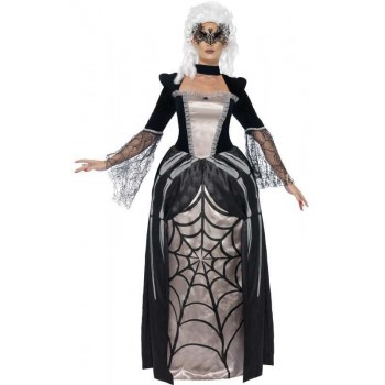 Ladies Black Widow Baroness Halloween Fancy Dress Costume