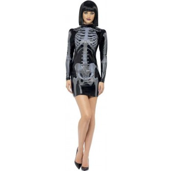 Ladies Black Fever Miss Whiplash Skeleton  (Fancy Dress Costume)