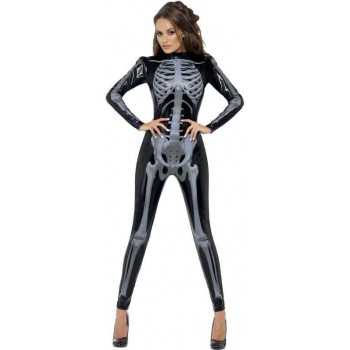 Ladies Black Fever Skeleton  (Fancy Dress Costume)