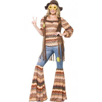 Ladies 1960'S Woodstock Harmony Hippie Fancy Dress Costume