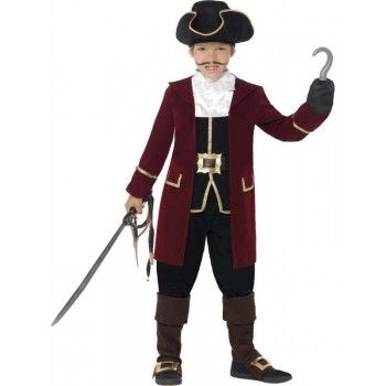 Boys Deluxe Pirate Captain With Jacket Fancy Dress Costume