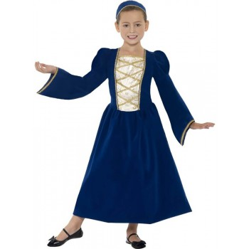Girls Blue Tudor/Medieval Princess Fancy Dress Costume