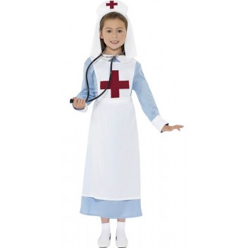 Girls Blue WW1 Nurse Fancy Dress Costume