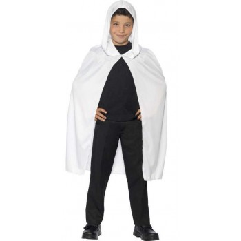 Childs White Hooded Halloween Fancy Dress Cape