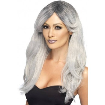 Ladies Grey Ghostly Glamour Wig Halloween Fancy Dress Accessory