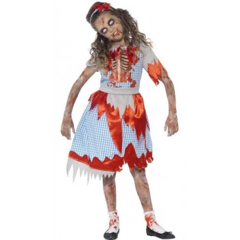 Girl'S Zombie Country Girl Halloween Fancy Dress Costume