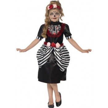Girls Day Of The Dead Sugar Skull Halloween Fancy Dress Costume