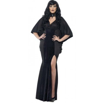 Ladies Black Curves Sexy Gothic Vamp Halloween Fancy Dress Costume