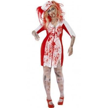 Ladies Flesh Eating Zombie Nurse Halloween Fancy Dress Costume