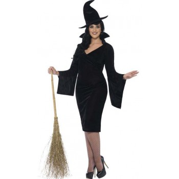 Ladies Black Curves Witch Halloween Fancy Dress Costume