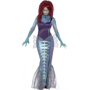 Ladies Zombie Mermaid Halloween Fancy Dress Costume