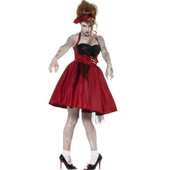 Ladies Red Zombie 50'S Grease Rockabilly Halloween Fancy Dress Costume