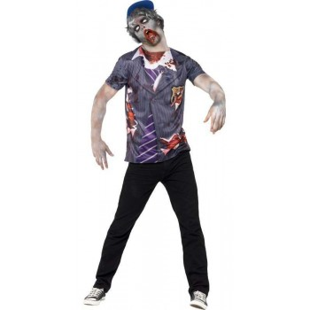 Men'S Zombie School Boy Halloween Fancy Dress Costume