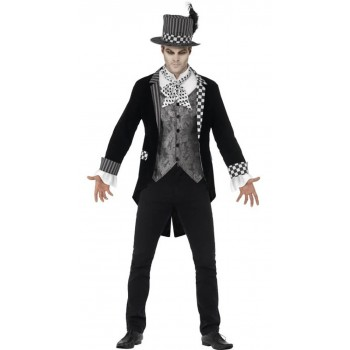 Mens Black Deluxe Dark Hatter Halloween Fancy Dress Costume