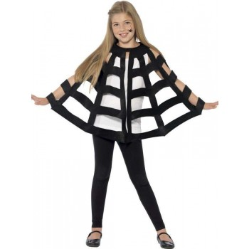 Childs Black Spider Web Fancy Dress Cape
