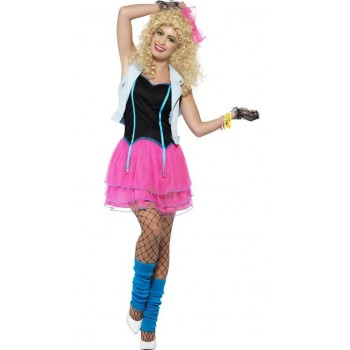 Ladies Pink Neon 80's Wild Child Girl Fancy Dress Costume