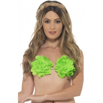 Ladies Neon Green Hawaiian Flowered Bra Fancy Dress Accessory