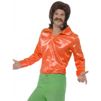 60s Shirt Orange Fancy Dress Costume