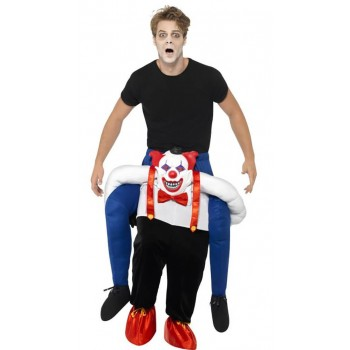 Adult Sinister Clown Piggy Back Halloween Fancy Dress Costume