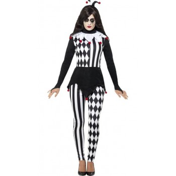 Ladies Black Jester Fancy Dress Costume