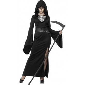Ladies Black Lady Reaper Halloween Fancy Dress Costume