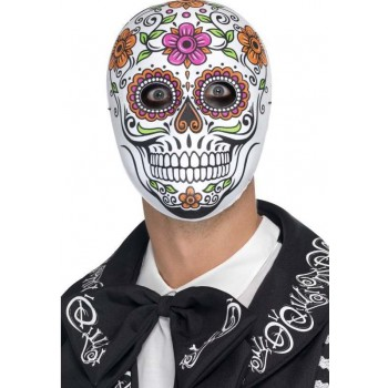 Mens Mexican Day Of The Dead Senor Bones Halloween Fancy Dress Mask