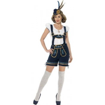 Ladies Blue Traditional Bavarian Oktoberfest Fancy Dress Costume