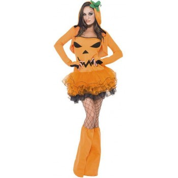 Ladies Orange Fever Pumpkin Tutu Dress With Detachable Straps (Fancy Dress Costume)