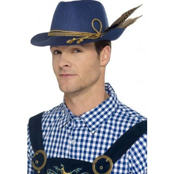 Adults Blue Authentic Bavarian Oktoberfest Hat Fancy Dress Accessory