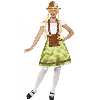 Ladies Green Bavarian Maid Fancy Dress Costume