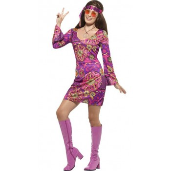 Ladies 60's Woodstock Hippie Chick Fancy Dress Costume