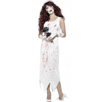 Ladies White Zombie Bride Halloween Fancy Dress Costume