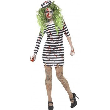 Ladies Zombie Jail Bird Halloween Fancy Dress Costume