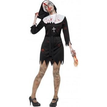 Ladies Zombie Sister/Nun Halloween Fancy Dress Costume