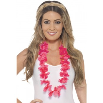Neon Pink Hawaiian Lei Fancy Dress Accessory