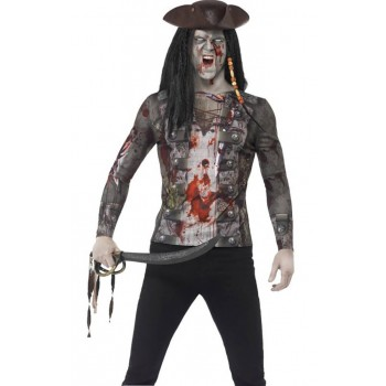 Mens Zombie Pirate T-Shirt Halloween Fancy Dress Costume