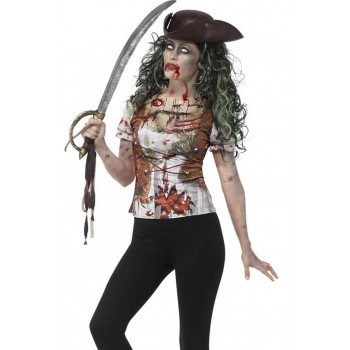 Ladies Zombie Pirate Wench Halloween T-shirt