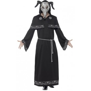 Mens Black Cult Leader Halloween Fancy Dress Costume