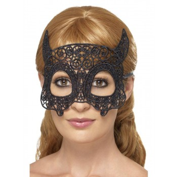 Embroidered Lace Filigree Devil Eyemask Fancy Dress Accessory