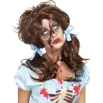 Zombie Bloody Country Girl Wig Fancy Dress Accessory