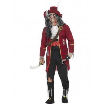 Deluxe Zombie Pirate Captain Costume, Latex Fancy Dress