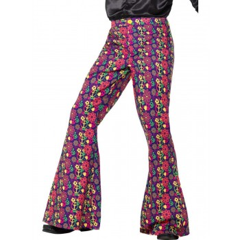 60s Psychedelic CND Flared Trousers, Mens Fancy Dress Costume